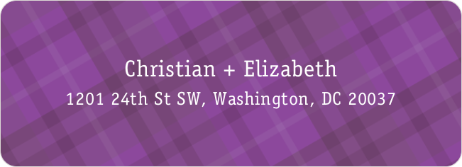 Plaid Address Labels - Purple