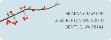 Winter Berries Personalized Address Labels - Blue