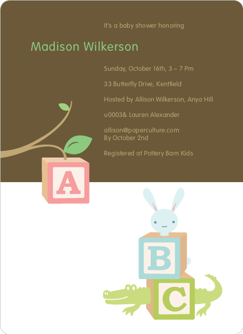 alphabet blocks baby shower invitation paper culture