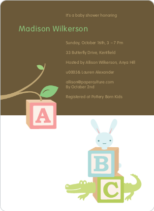 Alphabet Blocks Baby Shower Invitation - Dirt Brown
