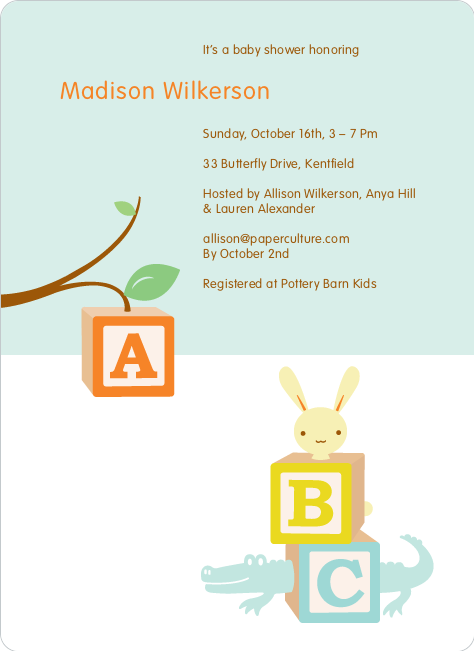 Alphabet Blocks Baby Shower Invitation - Pale Aqua
