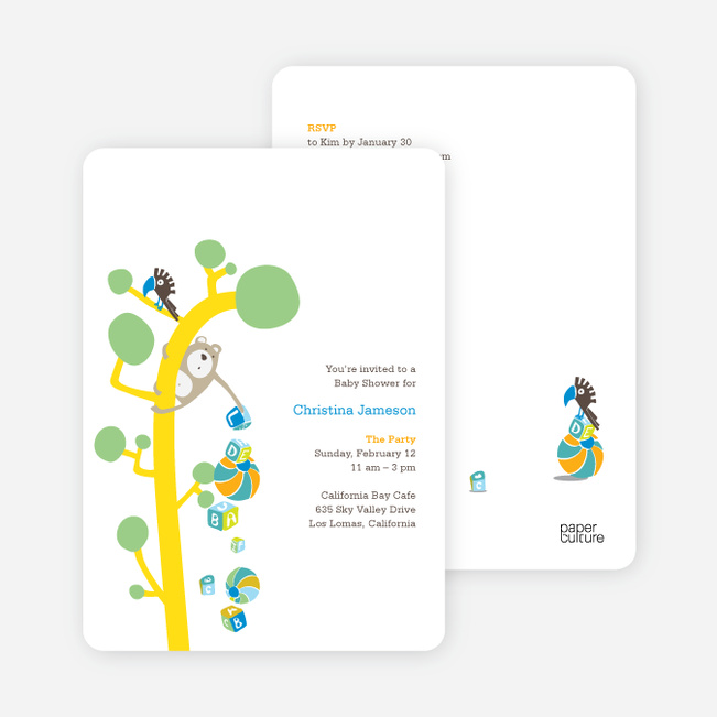 Baby Shower Invitations Featuring the Present Tree - Pistachio