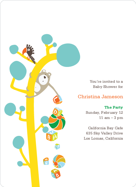 Baby Shower Invitations Featuring the Present Tree - Mystic Blue