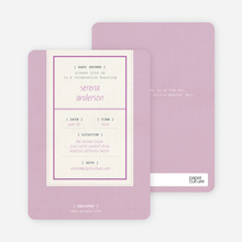 Baby Ticket Baby Shower Invitations - Lavender