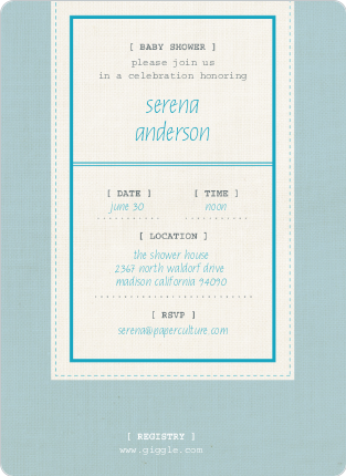 Baby Ticket Baby Shower Invitations - Glacier