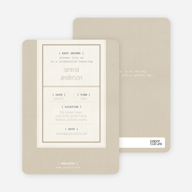 Baby Ticket Baby Shower Invitations - Coffee Cream