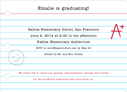 Banner Stripes Graduation Party Invitations - Blue