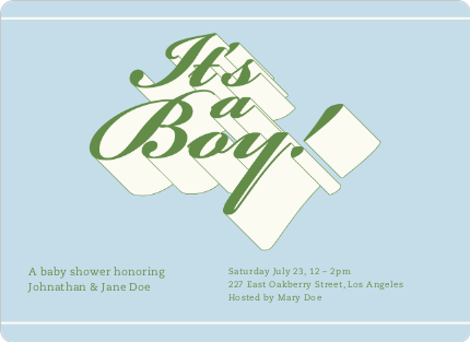 Chic 3D Graffiti Baby Shower Invitations - Little Boy Blue