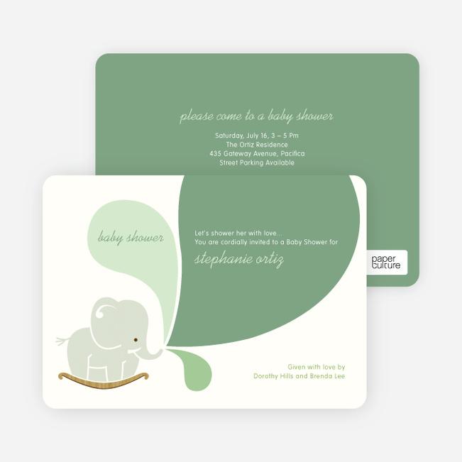 Elephant Rocker Baby Shower Invitations - Green Grape
