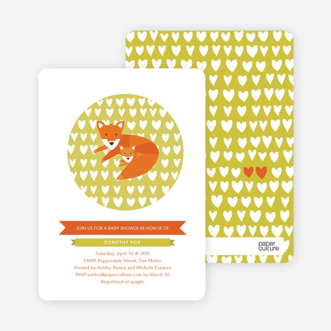 Foxy Mama–to–Be Baby Shower Invitations - Avocado