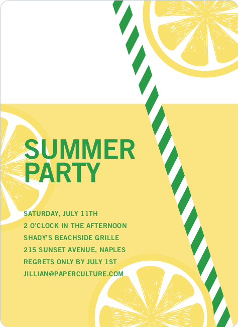 Fresh Lemonade Bridal Shower Invitations - Green