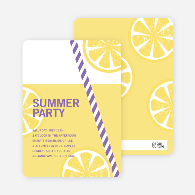 Fresh Lemonade Bridal Shower Invitations - Purple