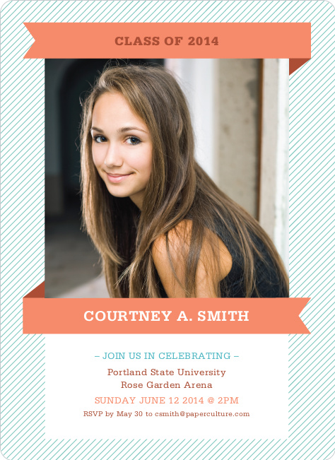 Graduation Banner Invitations - Peach Party