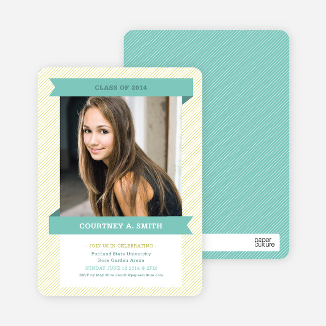 Graduation Banner Invitations - Teal Tart