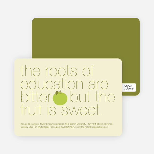 Graduation Fruit Invitations - Green Apple