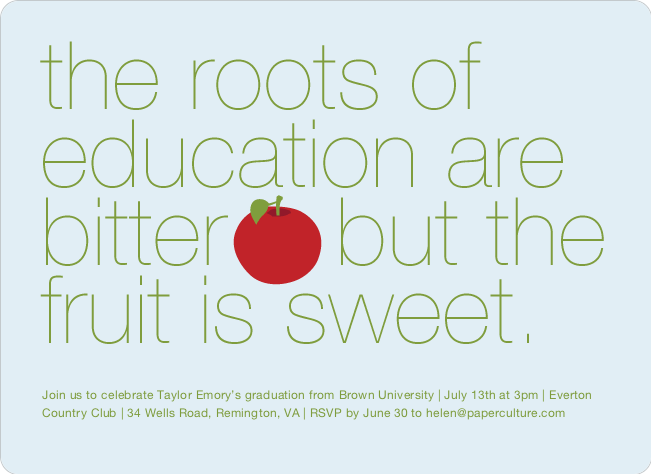 Graduation Fruit Invitations - Red Apple