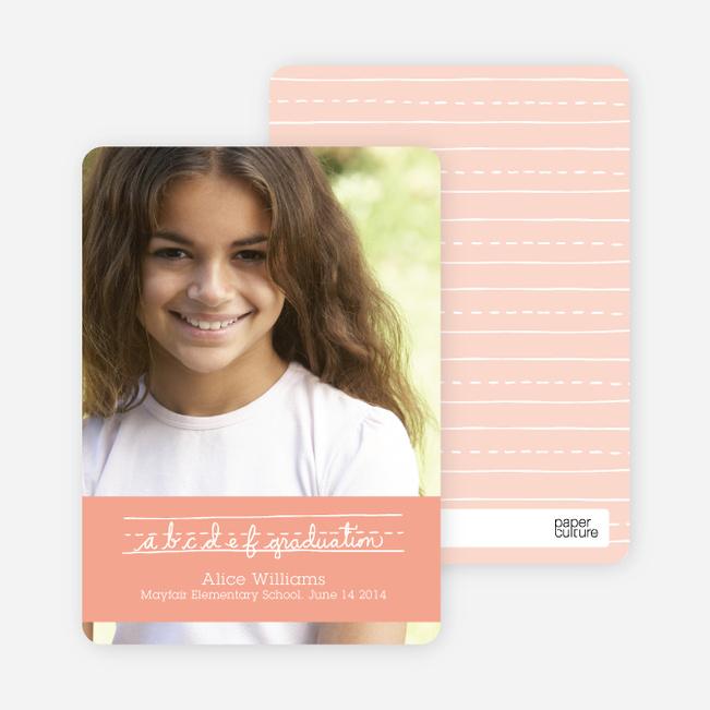 Graduations Alphabet Invitations - Peach Lemonade