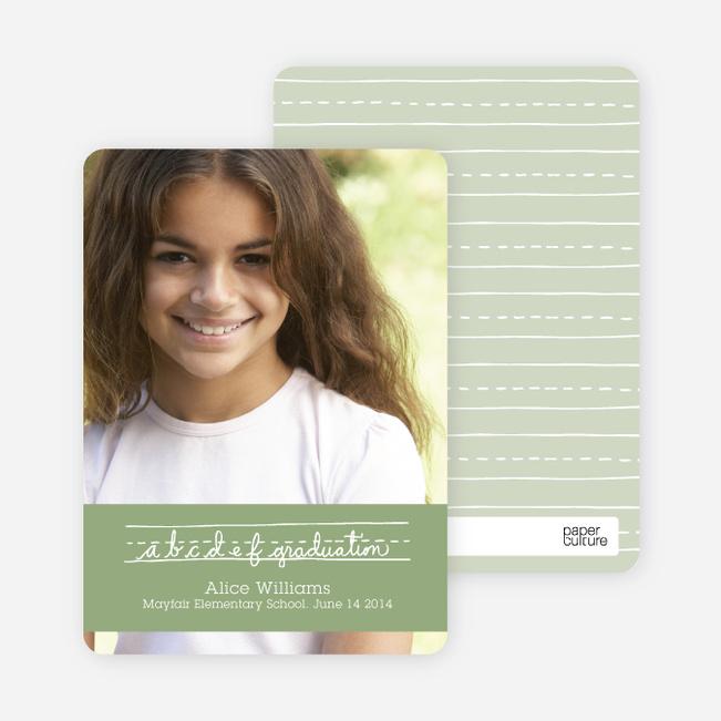 Graduations Alphabet Invitations - Spinach