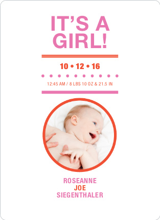 It's a Girl Baby Announcements - Raspberry