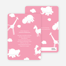 It's Raining Animals Baby Shower Invitations - Cotton Candy