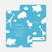 It's Raining Animals Baby Shower Invitations - Cornflower Blue