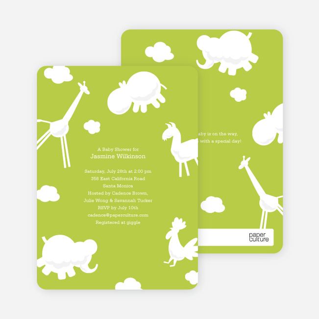 It's Raining Animals Baby Shower Invitations - Celery