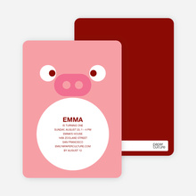 Little Piggy Birthday Invitation - Piglet Pink