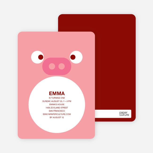 Little Piggy Birthday Invitation - Piglet Pink