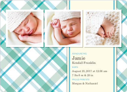 Mad Plaid Multi Photo Birth Announcements - Aquamarine