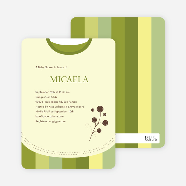 Modern Bib Baby Shower Invitations - Olive