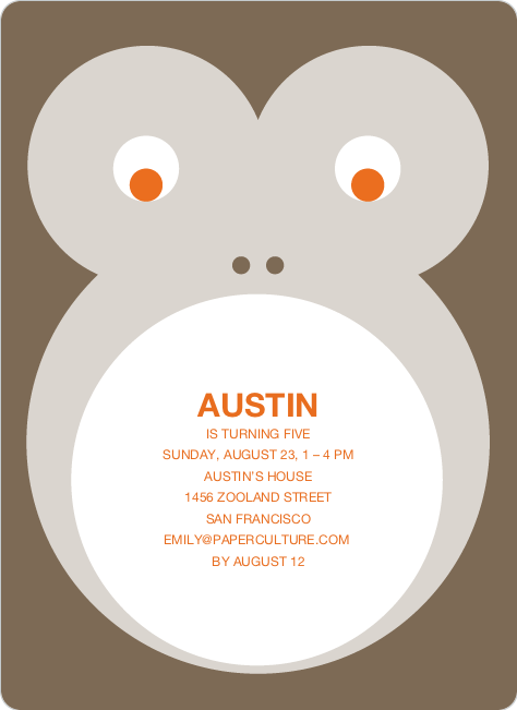 Monkey Face Modern Birthday Invitation - Mocha