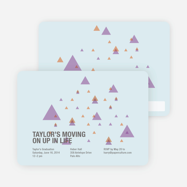Moving Up Graduation Announcement and Invitation - Pale Blue
