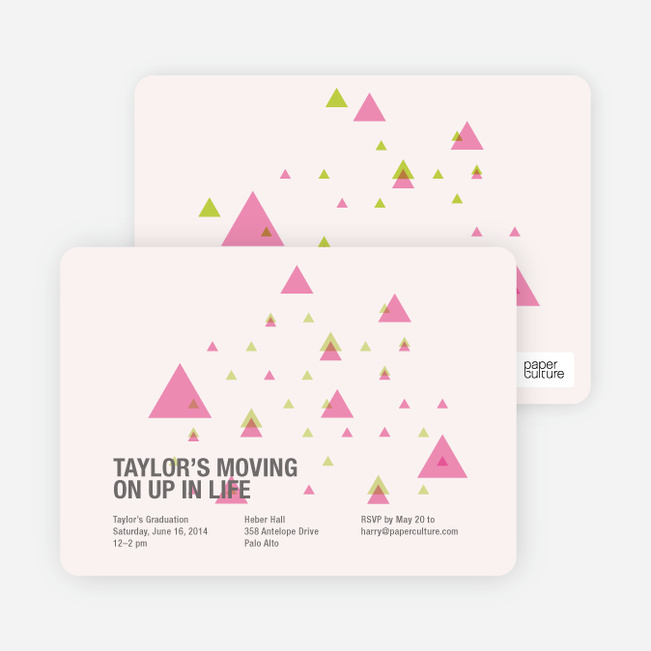 Moving Up Graduation Announcement and Invitation - Pale Pink