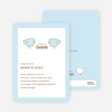 Nesting Birds Twins Baby Shower Invite - Light Blue