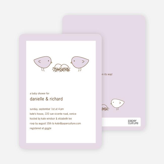 Nesting Birds Twins Baby Shower Invite - Light Lavender