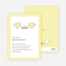 Nesting Birds Twins Baby Shower Invite - Light Yellow