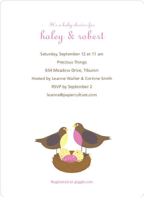 Nesting Robins Baby Shower Invites - Amethyst