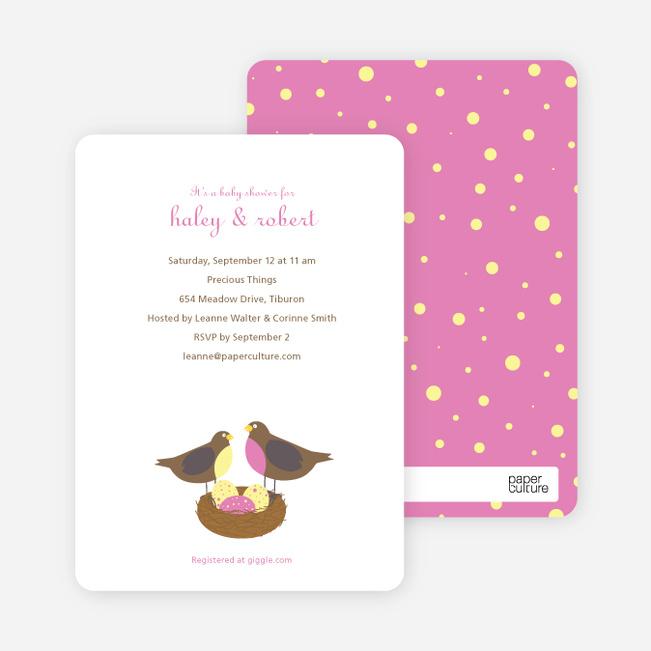 Nesting Robins Baby Shower Invites - Amethyst