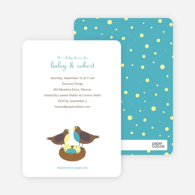 Nesting Robins Baby Shower Invites - Cadet Blue