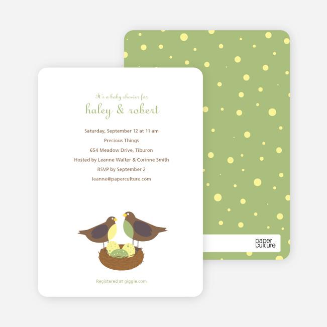 Nesting Robins Baby Shower Invites - Green Tea