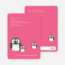 Owl Baby Shower Invitation - Fuchsia