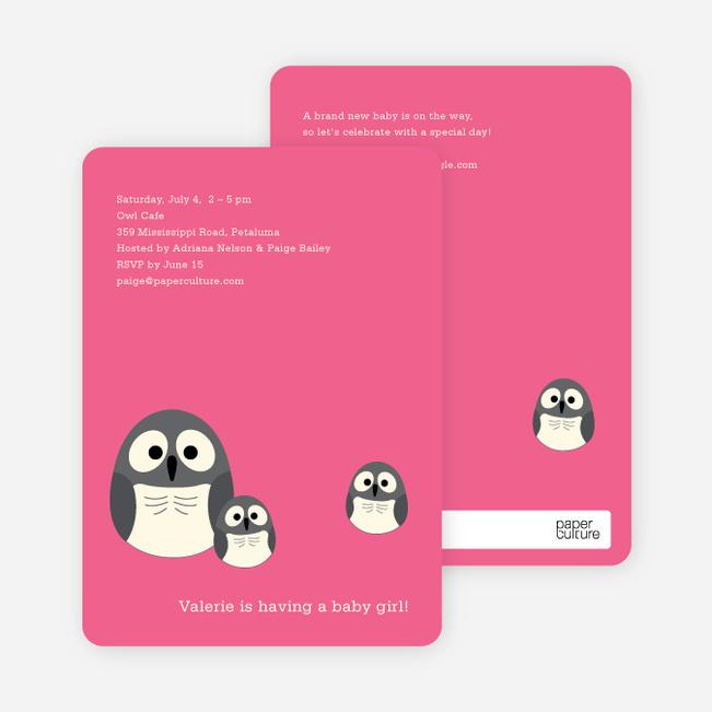 Owl Baby Shower Invitation - Fuchsia