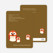 Owl Baby Shower Invitation - Light Mocha