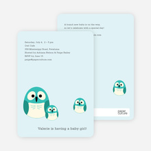 Owl Baby Shower Invitation - Baby Blue