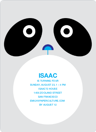 Panda Birthday Invitation - Black