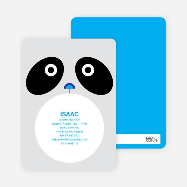 Panda Birthday Invitation - Black