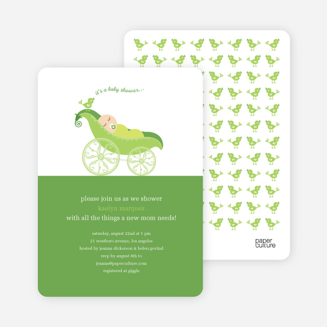 Pea in Pod Baby Shower Invitation - Wilderness Green