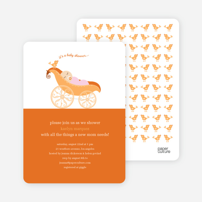 Pea in Pod Baby Shower Invitation - Orange