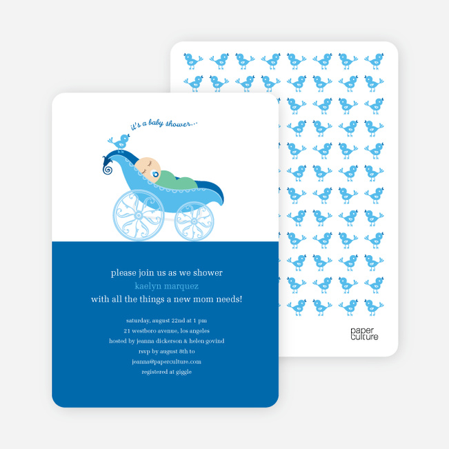 Pea in Pod Baby Shower Invitation - Bright Blue