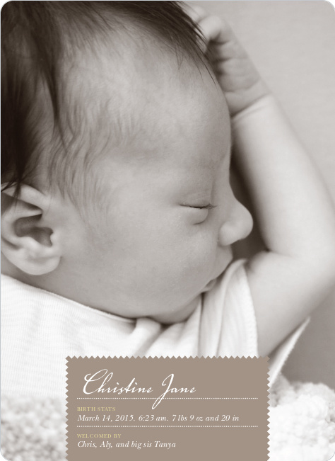 Pen and Ink Photo Birth Announcements - Truffle